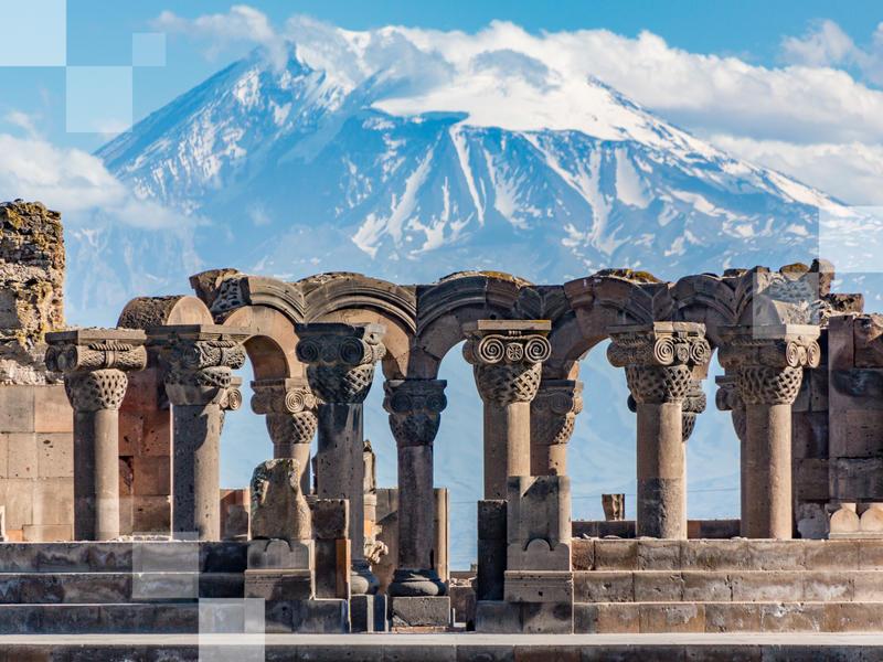 Rovine del tempio di Zvartnots a Yerevan, Armenia
