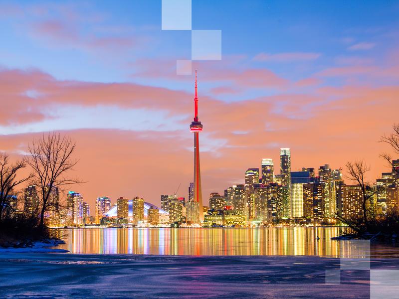 Skyline urbano di Toronto, Canada.